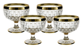 Elegant Set of 4 Footed 12 oz. Goblets Dessert Dishes with Golden Rim - $41.85