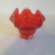 Ruffled Red Fenton Art Glass Vase Dish EUC - $12.95