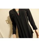Wome M L 10 12 14 Cardigan Jacket Knit Sweater Black Asym Solid Long Dra... - $23.77