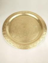 "Large Vintage Brass Hand Hammered Round Serving Tray - 23"" diameter - $75.00"