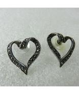 Vintage 80s Ribbon Hearts Stud Earrings Smoke Gray Black 3D 925 Sterling... - $49.45