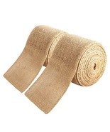 2 Pack 3 inch Wide Burlap Fabric Craft Ribbon,Natural Ribbon Rolls with ... - $18.00
