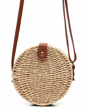 Women's Vegan Bohemian Woven Canteen Handbag Wicker Lined Boho Chic Purse image 2