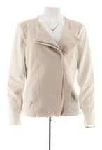 H Halston Croco Embossed Faux Suede Motorcycle Jacket Stone 4 NEW A286216 - $68.29