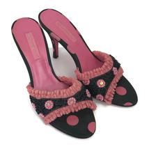 Betsey Johnson Women's Black Pink Polka Dot Open Toe Sandals Slides Heel... - $37.37