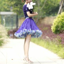 Women Girl Short Ruffle Layered Tulle Skirt Outfit Plus Size Tulle Holiday Skirt image 9