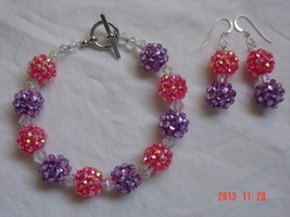 Purple and Pink Bracelet & Earring Set - for th... - $16.00