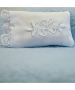 DOLLHOUSE Bed Pillow Alice Lacy White w Embroidery & Lace ALS060 Miniature - $3.71