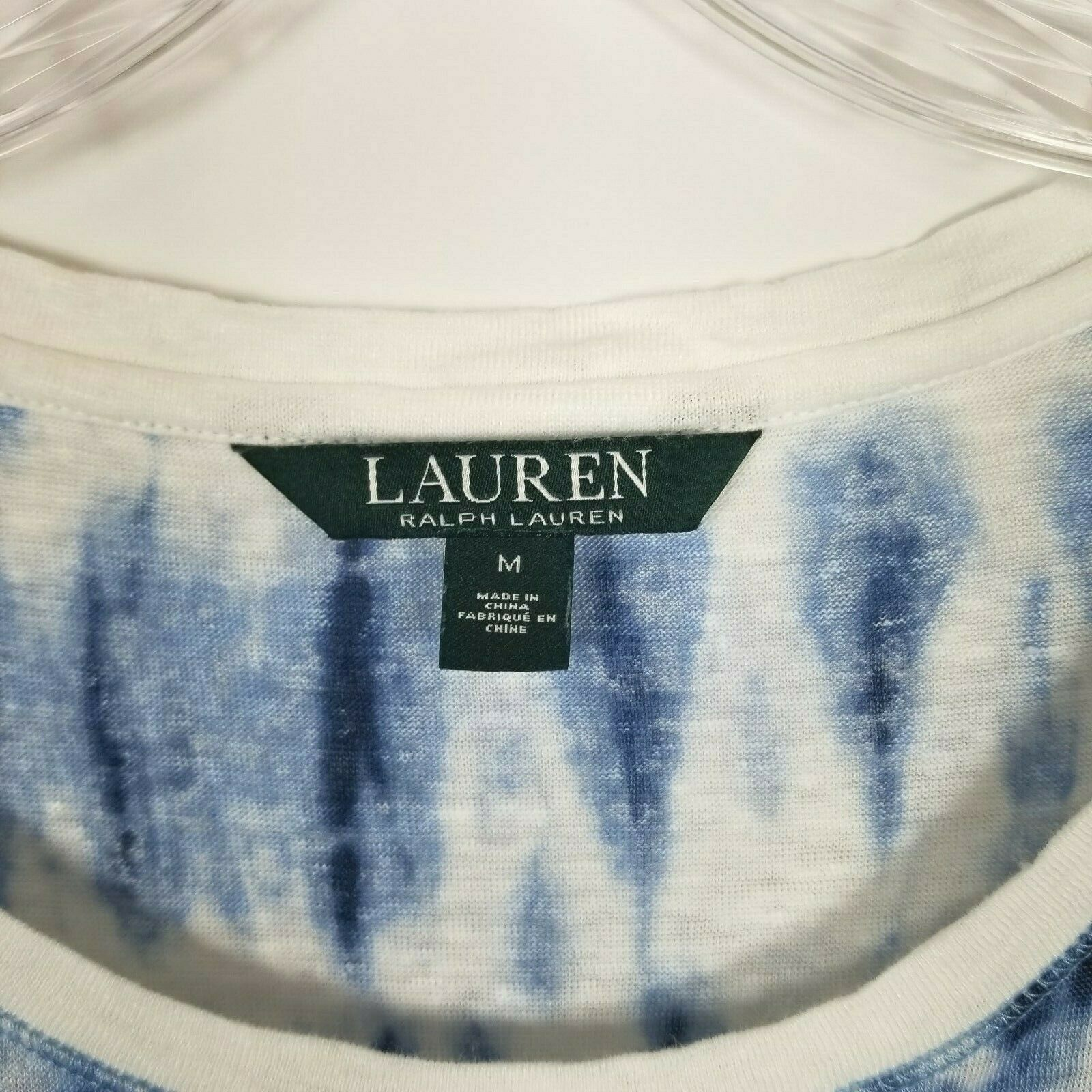 Lauren Ralph Lauren Womens Top Linen Blue White Tie Dye Linen Size Medium