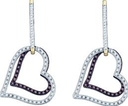 10k Yellow Gold Brown Color Enhanced Diamond Dangle Double Heart Earrings 1/2 - $594.00