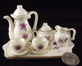 Lefton miniature porcelain tea coffee set purple violets 10 pieces - $15.00