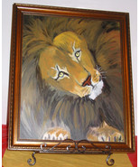Big Cats of Africa Framed Wild Life Oil Painting Lion 16 x 20 N.C. Artist - $200.99