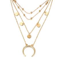 Fashion Women Jewelry Multi Layers Layered Moon Coin Pendant Choker Neck... - $6.99