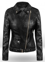 Biker Style Celebrity Leather Jacket For Women, Black Leather Ladies Jac... - $169.99