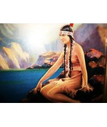 Stunning Native INDIAN SQUAW Sitting By the Lak... - $45.00