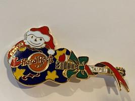 Hard Rock Cafe Pin Taipei Blue Guitar Yellow Stars Snowman XMas Christmas 1997 - $12.16