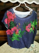 """Express"" Ladies Multi Color Cap Sleeve Tee Top SP Cotton Blend EUC - $11.01"