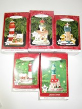 NEW 5 Hallmark Christmas Ornaments Lighthouse Series Magic Light Up 1997... - £37.27 GBP