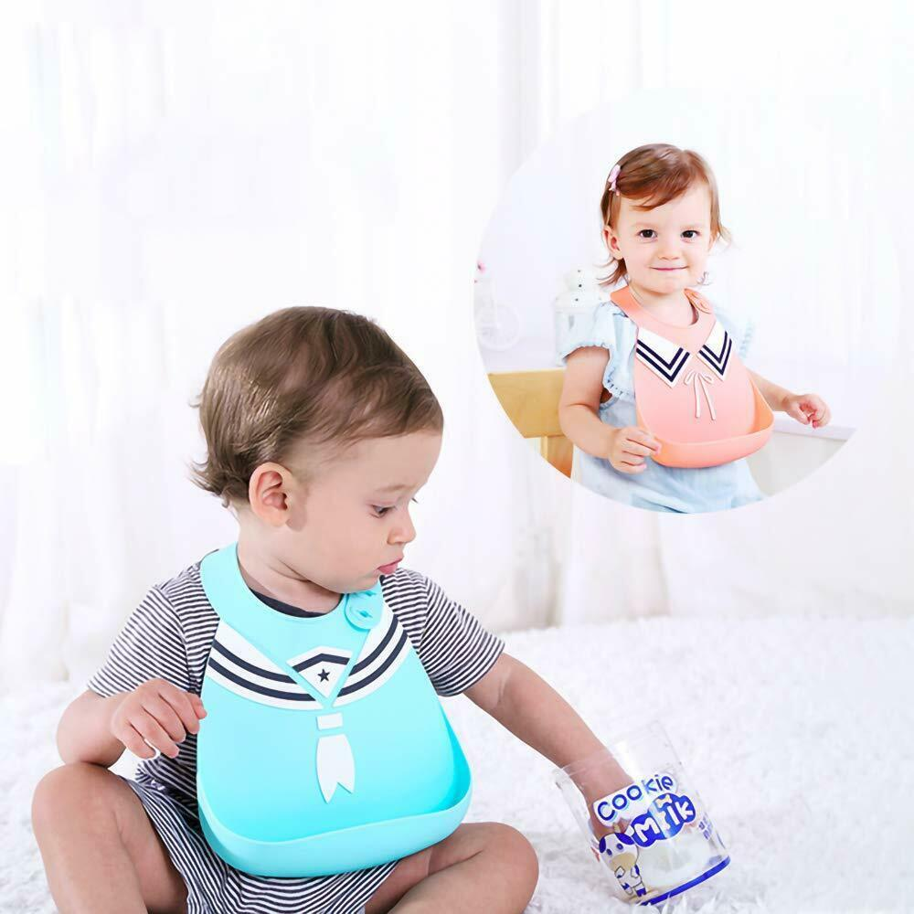 Silicone Baby Bibs for Babies & Toddlers Waterproof with Food Catcher (2pc) image 7