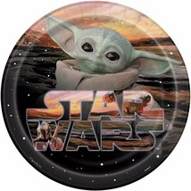 Star Wars Mandalorian The Child Yoda Lunch Plates 8 Count Birthday Party Unique - $5.89
