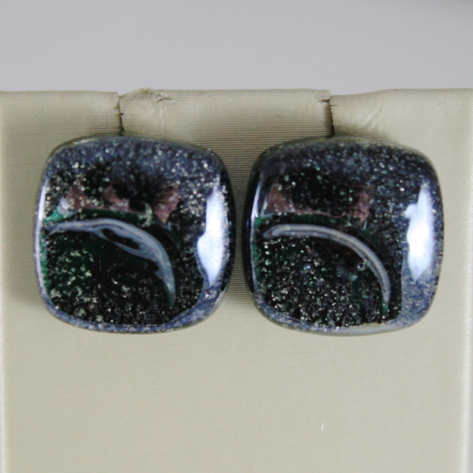 EARRINGS ANTICA MURRINA VENEZIA WITH MURANO GLASS GRAY AND BLACK OR530A14