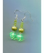 green dice drop earrings pearl bead earrings dangle drop earrings handma... - $4.99