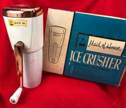 Maid of Honor ICE CRUSHER Retro Mid Century Modern Chrome & Copper in Box - $38.61