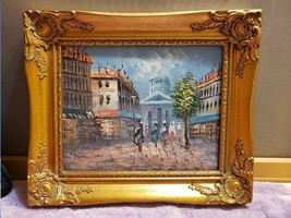 "Framed Oil Painting on Board European or South America Cityscape 13.5"" x... - $59.39"