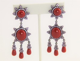 JOAN RIVERS Jewelry RARE HTF FX CORAL CABOCHON RHINESTONE DANGLE RUNWAY ... - $93.75