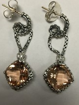 Pre Owned David Yurman Cushion On Point Earrings Morganite 11mmx11mm  - $365.00