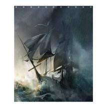 Shower Curtain Pirates Of The Caribbean Ships In Dark Storm Beautiful Fantasy Mo - $31.00+