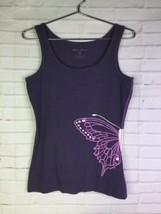 Eddie Bauer Womens Medium Purple Solid Butterfly Graphic Tank Top Cotton... - $12.61