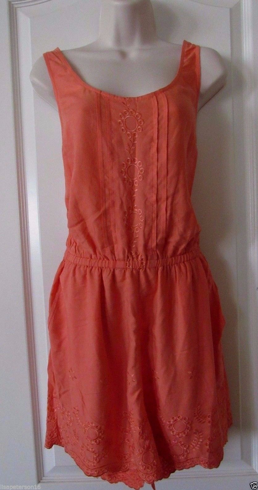 LC Lauren Conrad Coral Embroidered Romper Women's Size 8 NWT MSRP$54 SUPER CUTE!
