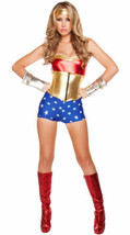 3 Pc Woman's Lusty American Superheroine Roma Halloween Costume Red/Blue... - $19.30