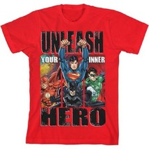Justice League Boys T-Shirt Superman Batman Flash Size XS 4-5 NWT - $13.99