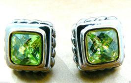 Silver tone Faceted Green Peridot CZ Cubic Zirconia stud earrings $0 sh new image 5