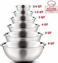 Premium Stainless Steel Mixing Bowls (Set of 6) Stainless Steel Mixing B... - $53.44