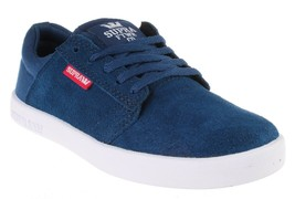 Supra Westway Boys Kids' Navy Suede/navy Canvas/Red Skate Shoes 11K NEW