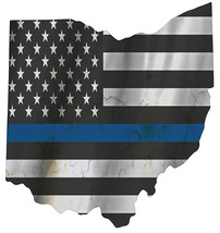 Thin Blue Line Police State of  Ohio Laser CutOut Metal Sign 17Hx16W. - $25.74