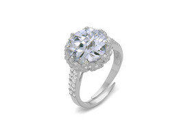 Sterling Silver 5CTW Cubic Zirconia With Pave CZ Sides Adjustable Ring-925 - $59.00