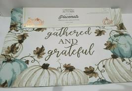 Fall Thanksgiving Blue Pumpkin GATHERED & GRATEFUL Fabric Placemats Set 4 - $29.69