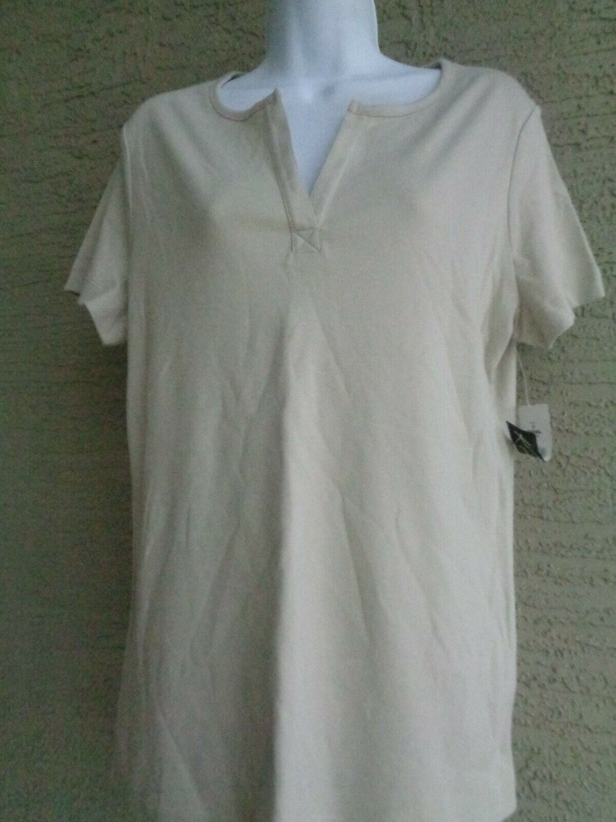 Primary image for Kim Rogers M Split Neck Tee Shirt S/S Heaver Weight Super Soft Cotton Beige
