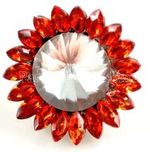 Orange Clear Flower Rhinestone 20mm Snap Charm Interchangeable For Ginge... - $6.19