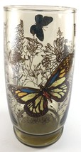 Libbey Amber Butterfly Tumbler Glass 6 Inches Tall Textured Vintage - $3.46