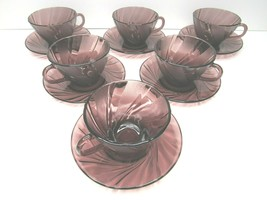 6 Duralex France Amethyst Purple Swirl Bormioli Rocco Tea Cup Saucer Set... - $32.64