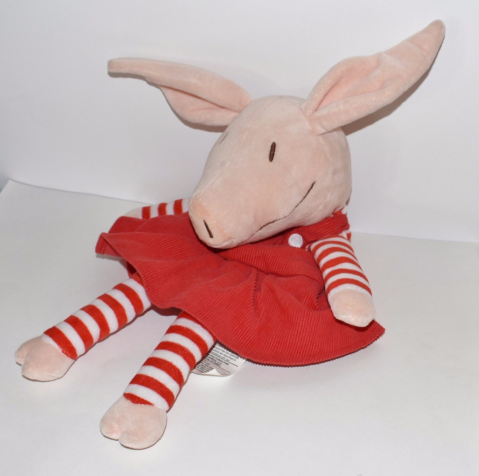 Plush Olivia Pig Red Dress Zoobies Storytime Pals PJ Keeper Toy Only 19""
