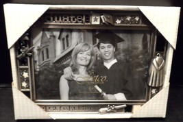 Fetco Graduation Picture Frame 4 x 6 Congratulations Hanging Charms Pewter - $18.60