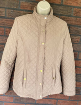 Beige Quilted Jacket Jade & Ivory Small Long Sleeve Lightweight Coat Gol... - $24.50