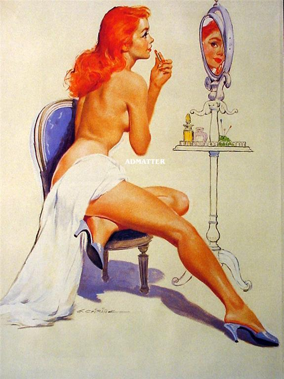 Primary image for Fire Hot Red Head Pin-up Girl Print  Ernest Chiriaka