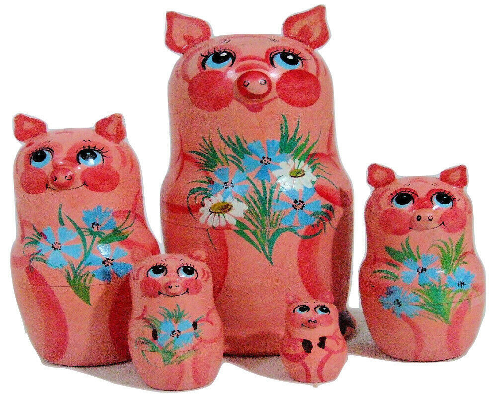 Primary image for 5 pcs Hand Painted Russian Nesting Doll of PIGS w/ Handcarved Ears